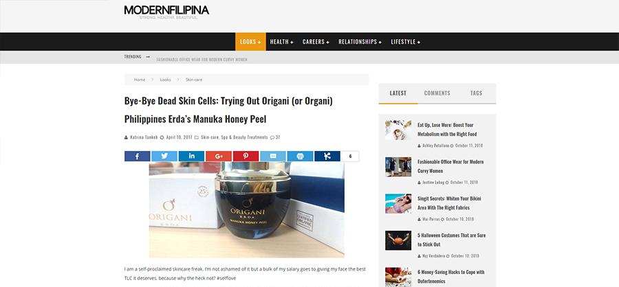 Bye-Bye Dead Skin Cells: Trying Out Origani (or Organi) Philippines Erda's Manuka Honey Peel